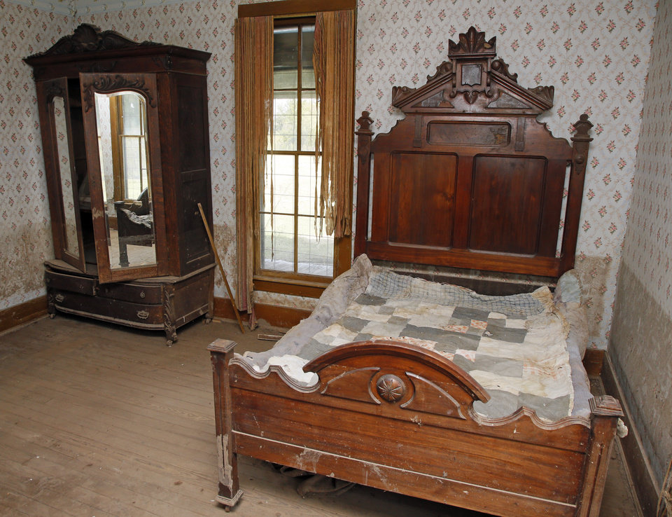 Photo -  The bedroom of one of Quanah Parker's wives. [Photo by Nate Billings, The Oklahoman]