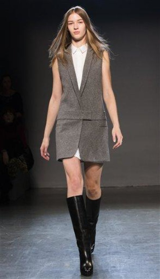 Photo -  An outfit from the Victoria, Victoria Beckham fall 2013 runway show in New York. AP PHOTO