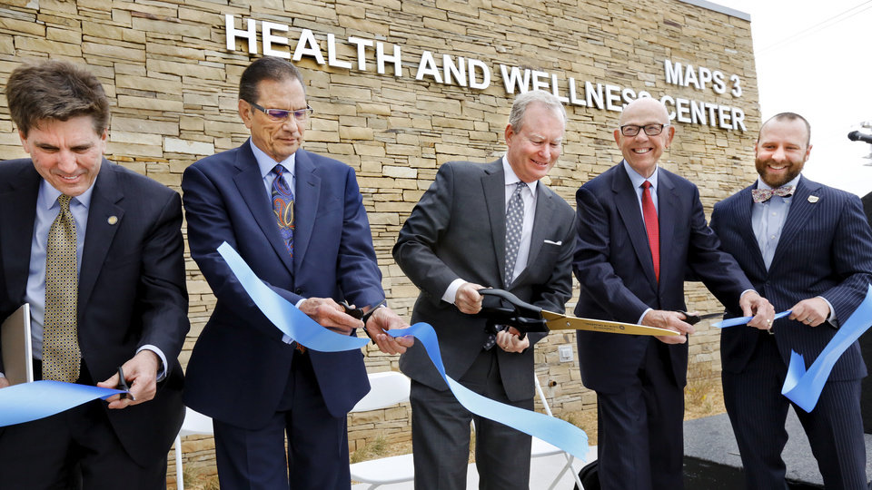 Photo - Dignitaries dedicated the new MAPS 3 senior health and wellness center last week. MAPS 3 will build four or five of the centers. [Photo by Jim Beckel, The Oklahoman]