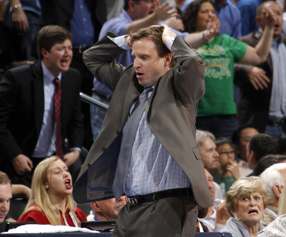 Photo - Scott Brooks reacts to a foul on Oklahoma City Thunder small forward Kevin Durant (35) during the NBA basketball game between the Oklahoma City Thunder and the Phoenix Suns at the Chesapeake Energy Arena on Wednesday, March 7, 2012 in Oklahoma City, Okla.  Photo by Chris Landsberger, The Oklahoman