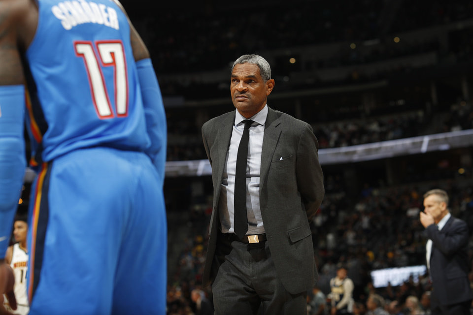 Photo - Oklahoma City Thunder assistant coach Maurice Cheeks in the second half of an NBA basketball game Saturday, Dec. 14, 2019, in Denver. The Nuggets won 110-102. (AP Photo/David Zalubowski)