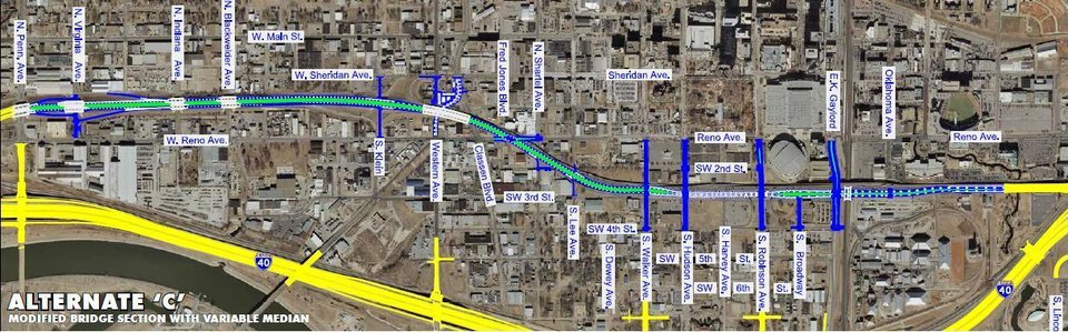 Photo -  Alternate C shows a modified design that was drawn up by consultants hired by the city in fall, 2012. The plans, which have again been modified a bit, have a crossing over Western, with Classen merging into Western. The street is at grade east of Western and has a crossing at Reno Avenue. Critics say it is still too much of a highway and will hurt development of the area south of Film Row. One question I've asked, and not heard any real answers to, is why can't there be a crossing at Lee Avenue instead of just slip lanes (which you would find on a highway). Note: the new downtown elementary school is just a couple blocks north of Lee and the boulevard. How would this design hurt development potential south of the school?