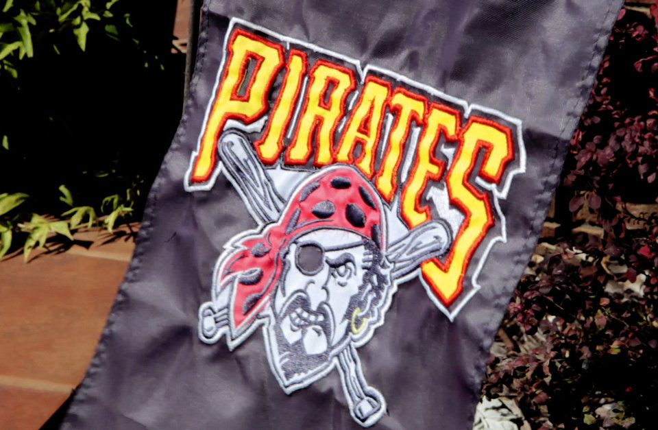 Photo - This Pittsburgh Pirates flag can be found in front of Tammy and Rick  Mercer's home at Taloga. Their son Jordy Mercer plays for Pittsburgh. PHOTO BY DAVID MCDANIEL, THE OKLAHOMAN   David McDaniel - The Oklahoman