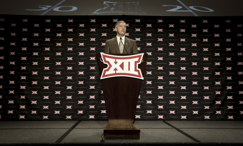 Photo - Big 12 commissioner Bob Bowlsby speaks at the opening of the NCAA college Big 12 Conference football media days in  Dallas, Monday, July 21, 2014. (AP Photo/LM Otero)