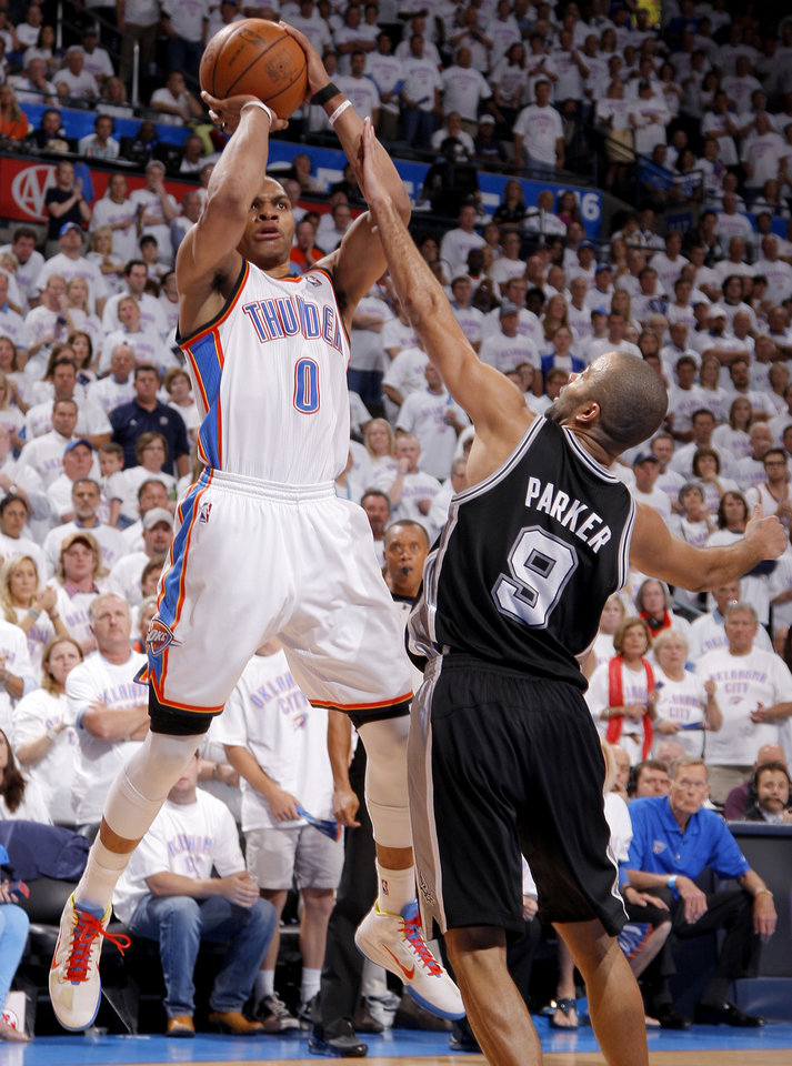 Photo - during Game 6 of the Western Conference Finals between the Oklahoma City Thunder and the San Antonio Spurs in the NBA playoffs at the Chesapeake Energy Arena in Oklahoma City, Wednesday, June 6, 2012. Oklahoma City won 107-99. Photo by Bryan Terry, The Oklahoman