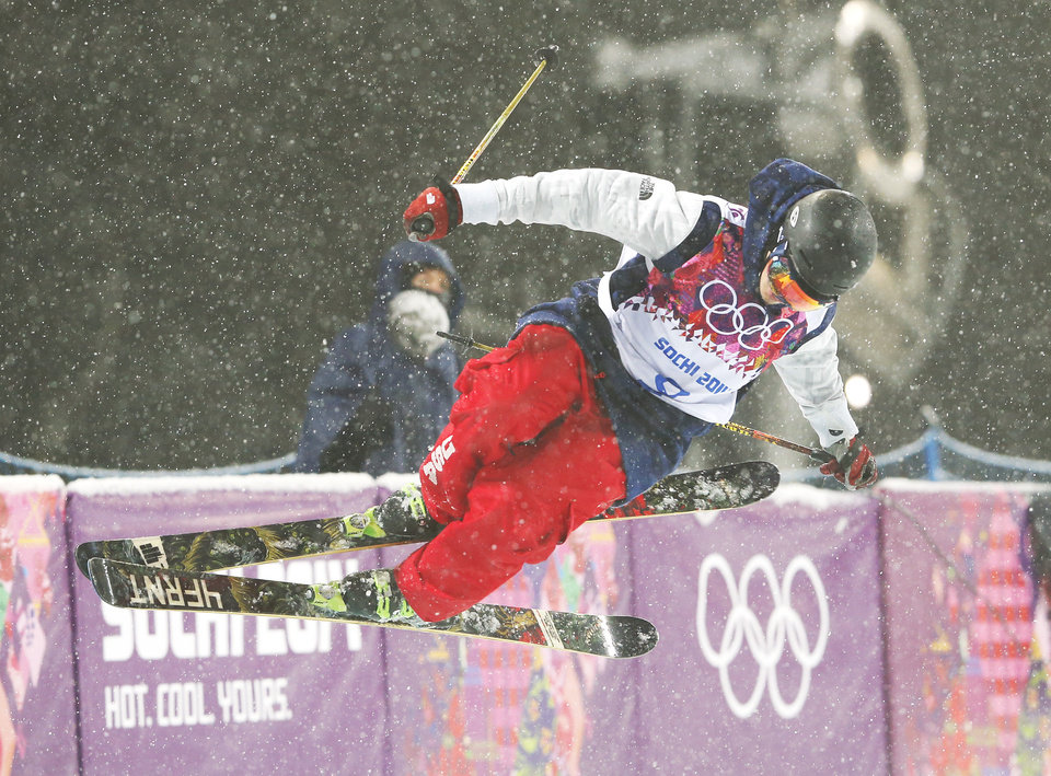 Photo - David Wise of the United States gets air during the men's ski halfpipe final at the Rosa Khutor Extreme Park, at the 2014 Winter Olympics, Tuesday, Feb. 18, 2014, in Krasnaya Polyana, Russia.  (AP Photo/Sergei Grits)