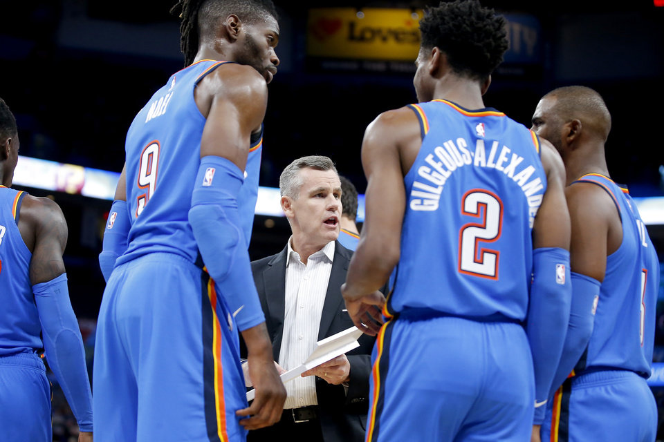 Photo - Oklahoma City coach Billy Donovan speaks with Nerlens Noel, Shai Gilgeous-Alexander and Chris Paul during a timeout in an NBA basketball game between the Oklahoma City Thunder and the New Orleans Pelicans at Chesapeake Energy Arena in Oklahoma City, Saturday, Nov. 2, 2019. Oklahoma City won 115-104. [Bryan Terry/The Oklahoman]