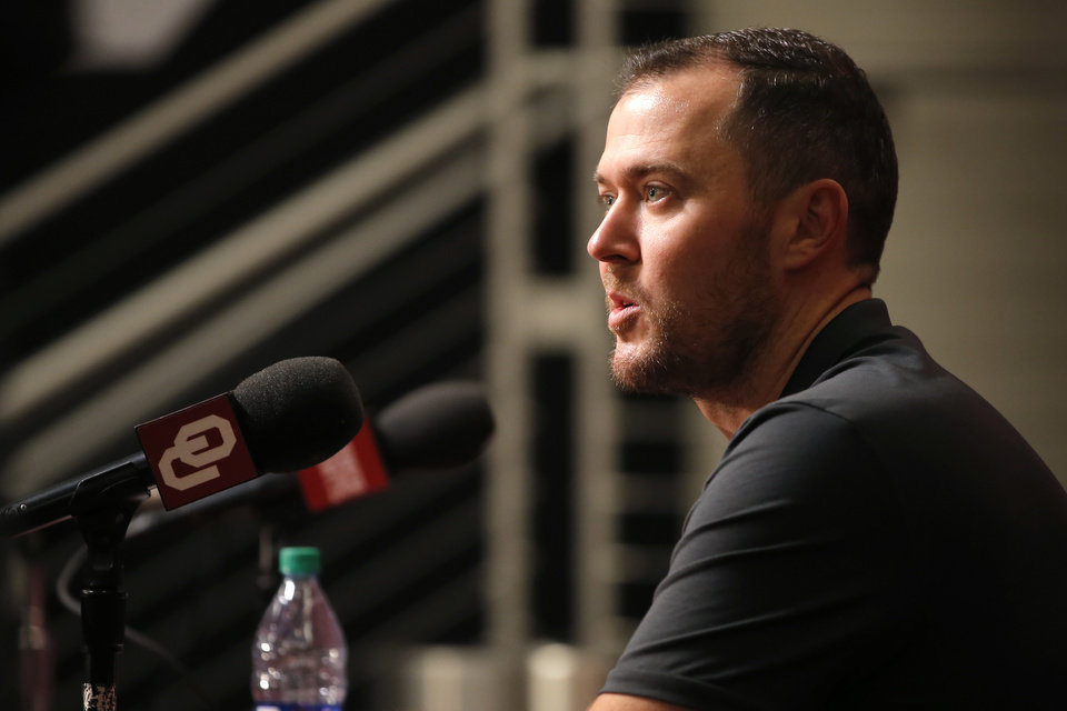 Photo -  Oklahoma coach Lincoln Riley speaks to the media in Norman, Okla., Sunday, Jan. 20, 2019. [Bryan Terry/The Oklahoman]