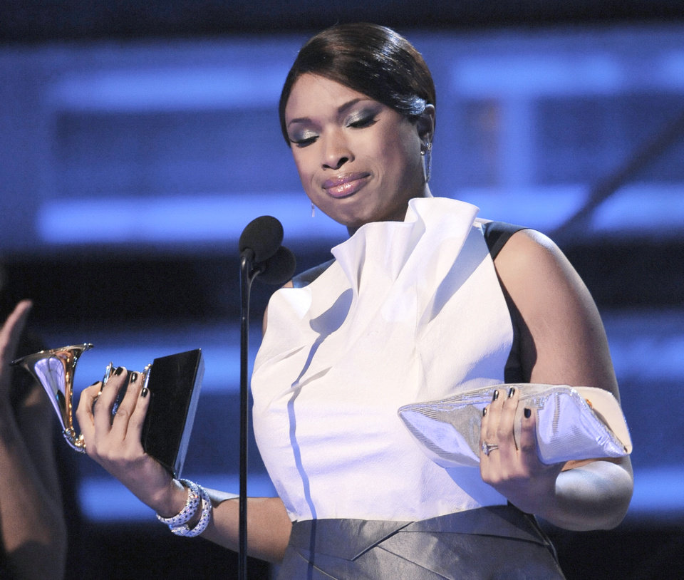 Jennifer Hudson is emotional as she accepts the award for best R&B album Sunday at the 51st Annual Grammy Awards in Los Angeles. AP PHOTO