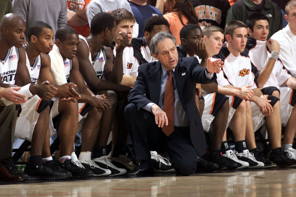 Photo - OSU coach Eddie Sutton coaches his team against New Orleans. [Steve Sisney/The Oklahoman]