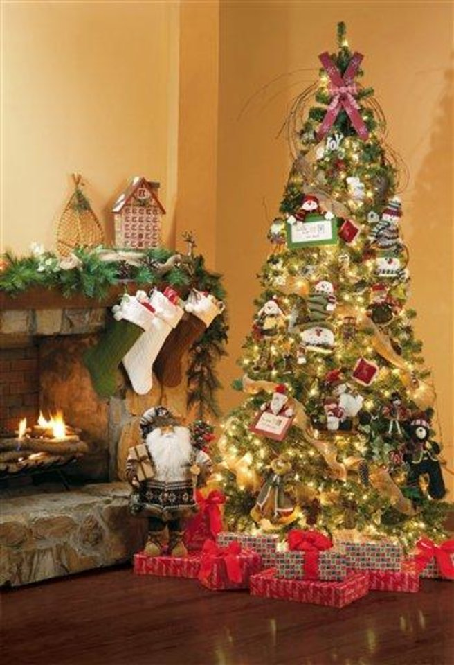 This undated publicity photo provided by Jo-Ann Stores, Inc. shows a festive Holiday room scene crafted by Jo-Ann in Hudson, Ohio. The Christmas tree is the focal point of many homes this season, so if yours is looking less than lush, here are some expert tips on how to spruce up its appearance. (AP Photo/Jo-Ann Stores, Inc.)