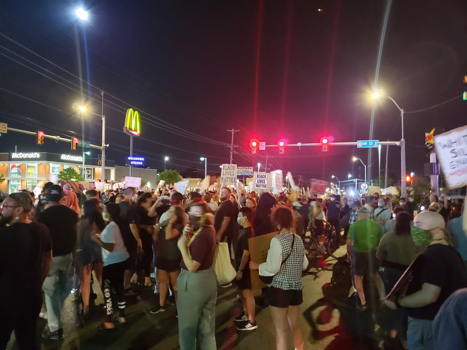 Photo - Protesters gather Saturday, May 30, 2020, near NW 23rd in Oklahoma City. Photo by Ellie Melero
