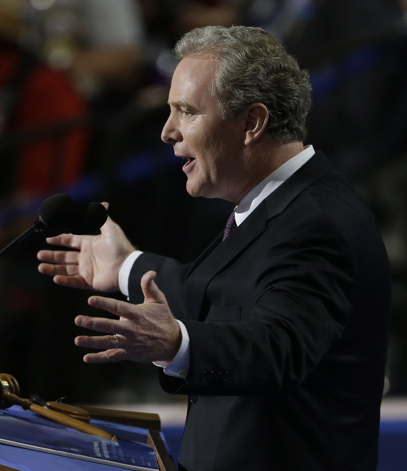 Photo - Rep. Chris Van Hollen of Maryland addresses delegates at the Democratic National Convention in Charlotte, N.C., on Wednesday, Sept. 5, 2012. (AP Photo/Lynne Sladky)  ORG XMIT: DNC174