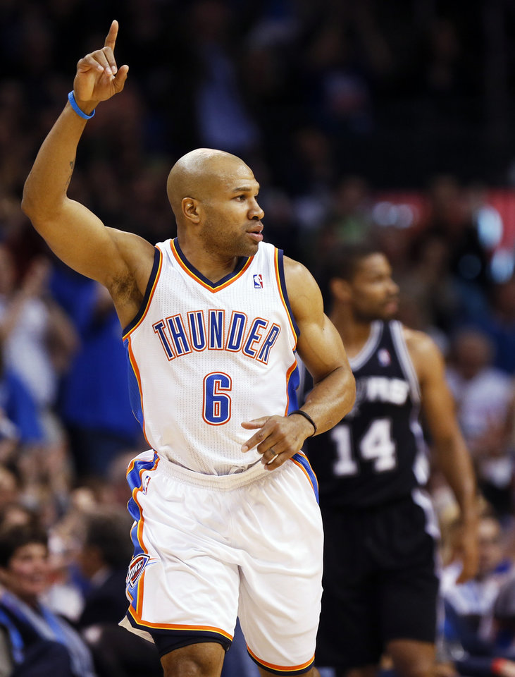 Oklahoma City's Derek Fisher (6) runs back on defense in front of San Antonio's Gary Neal (14) after a 3-point shot during an NBA basketball game between the Oklahoma City Thunder and the San Antonio Spurs at Chesapeake Energy Arena in Oklahoma City, Thursday, April 4, 2013. Photo by Nate Billings, The Oklahoman
