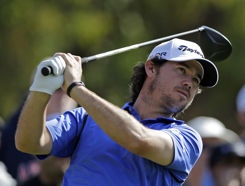 Photo - Brian Harman drives on the second tee in the final round of the Northern Trust Open golf tournament at Riviera Country Club in the Pacific Palisades area of Los Angeles, Sunday, Feb. 16, 2014.  (AP Photo/Reed Saxon)