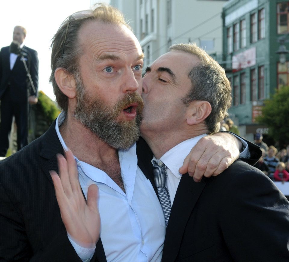 "Cast members Hugo Weaving, left, and James Nesbitt pose on the red carpet at the premiere of ""The Hobbit: An Unexpected Journey,"" at the Embassy Theatre, in Wellington, New Zealand, Wednesday, Nov. 28, 2012. (AP Photo/SNPA, Ross Setford) NEW ZEALAND OUT"