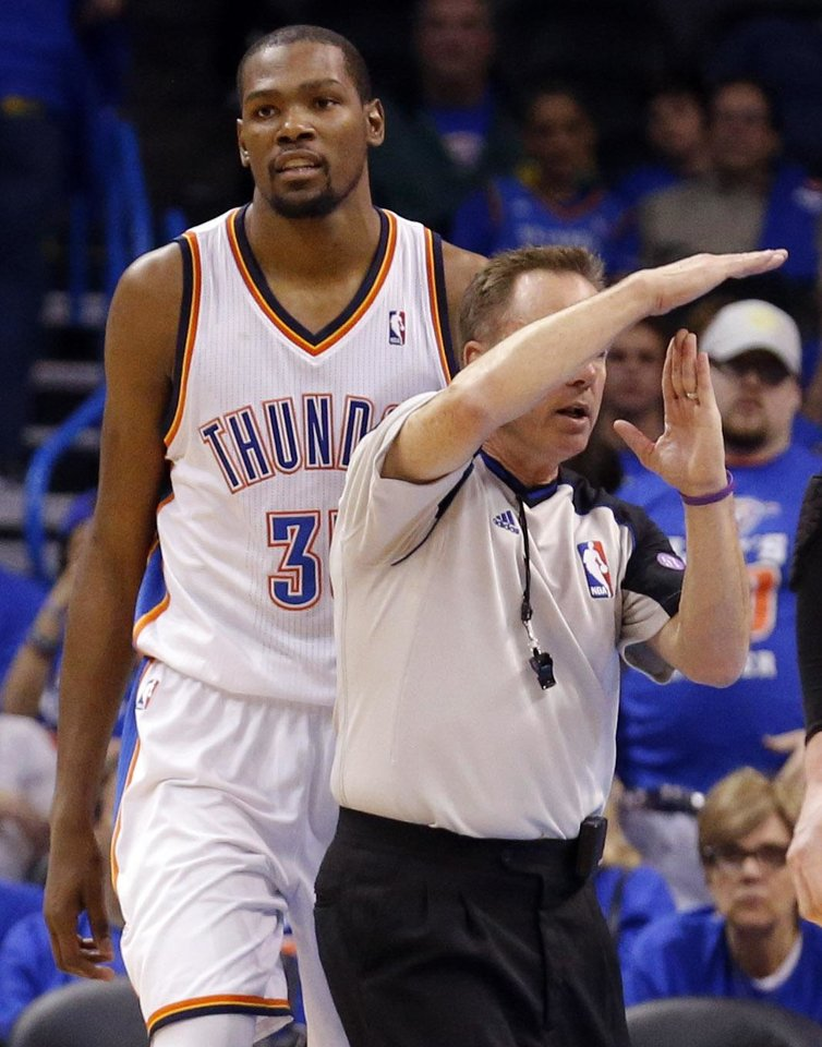 Oklahoma City\'s Kevin Durant (35) gets called for a technical foul during Game 5 in the first round of the NBA playoffs between the Oklahoma City Thunder and the Houston Rockets at Chesapeake Energy Arena in Oklahoma City, Wednesday, May 1, 2013. Photo by Sarah Phipps, The Oklahoman