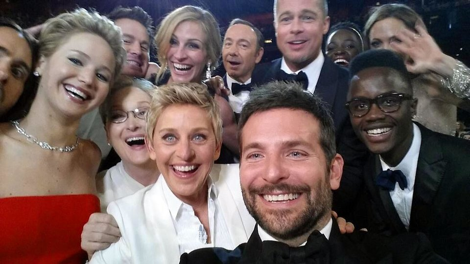 Photo - This image released by Ellen DeGeneres shows actors front row from left, Jared Leto, Jennifer Lawrence, Meryl Streep, Ellen DeGeneres, Bradley Cooper, Peter Nyong'o Jr., and, second row, from left, Channing Tatum, Julia Roberts, Kevin Spacey, Brad Pitt, Lupita Nyong'o and Angelina Jolie as they pose for a