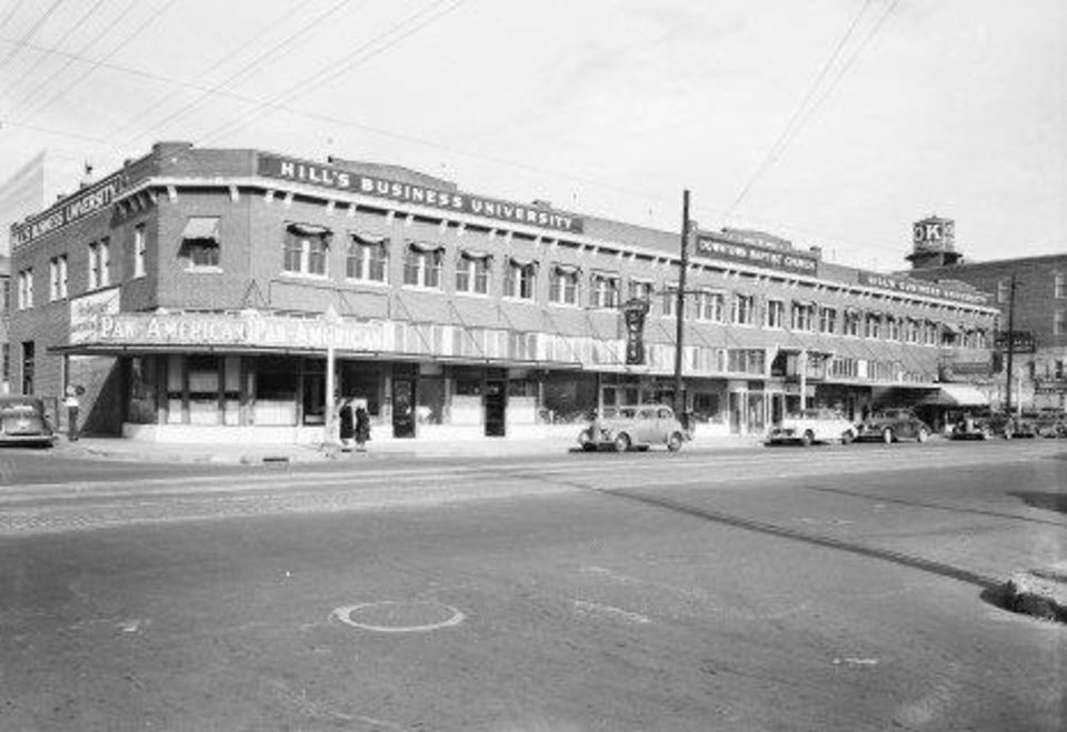 Photo - The Main Street Arcade Building was originally home to Hill's Business College.  Oklahoma Historical Society