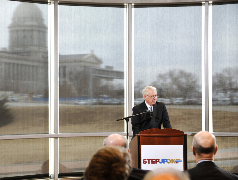 Photo - Tucker Link is a member of Step Up who spoke at the news conference. Link is founder and chairman of Knightsbridge Investments, and is an OSU/A&M regent. Frustrated by a legislative budget impasse that has stalled state progress, a statewide coalition of Oklahoma business and civic leaders (STEPUPOK) proposed a comprehensive solution Thursday, Jan. 11, 2018,  that would increase state revenues, fund $5,000 teacher pay raises and alter the structure of state and county government.  The proposal calls for raising gross production, motor fuel and cigarette taxes, while eliminating certain individual income tax deductions and loopholes.  The business leaders said their willingness to support the proposed revenue hikes is directly tied to lawmakers' willingness to vote for $5,000 teacher pay increases and embrace 10 reforms to the structure of state and county government, many of which also would require the public's approval through votes on constitutional amendments.  Photo by Jim Beckel, The Oklahoman