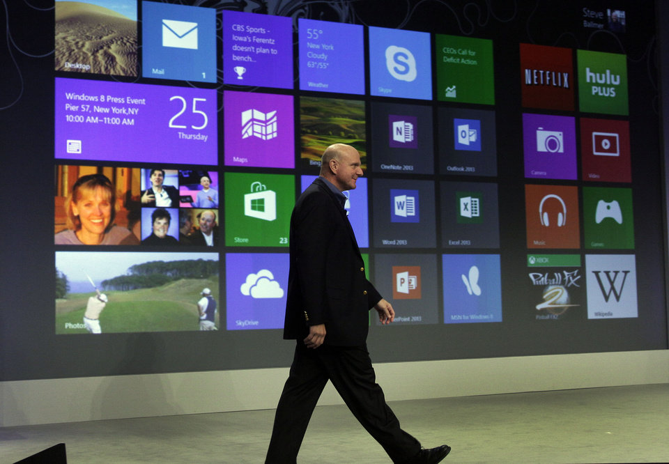 Photo -   Microsoft CEO Steve Ballmer arrives to give his presentation at the launch of Microsoft Windows 8, in New York, Thursday, Oct. 25, 2012. Windows 8 is the most dramatic overhaul of the personal computer market's dominant operating system in 17 years. (AP Photo/Richard Drew)
