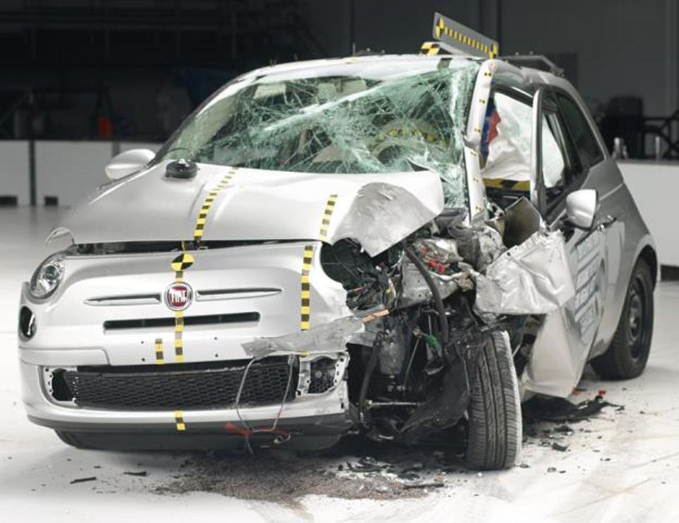 Photo - This undated photo provided by the Insurance Institute for Highway Safety shows he Fiat 500 during a crash test. The agency says the Fiat 500 and the Honda Fit were the worst performers of  the 12 minicars tested in terms of potential injury to drivers. (AP Photo/Insurance Institute for Highway Safety)