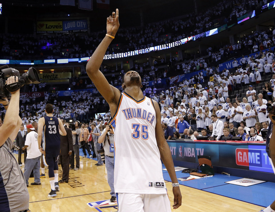 NBA BASKETBALL / REACTION: Oklahoma City's Kevin Durant (35) reacts after he leaves the court following Game 5 in the second round of the NBA playoffs between the Oklahoma City Thunder and the Memphis Grizzlies at Chesapeake Energy Arena in Oklahoma City, Wednesday, May 15, 2013. Photo by Sarah Phipps, The Oklahoman