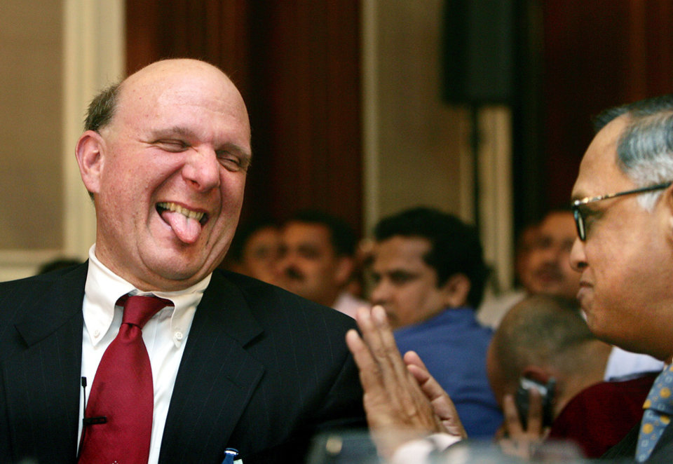 Photo -   FILE -In this Nov. 8, 2006, file photo, Microsoft Corp. Chief Executive Officer Steve Ballmer, left, reacts as he talks to co-founder of Technologies NR Narayana Murthy, right, in New Delhi, India. Ballmer can't afford to be wrong about Windows 8. If the dramatic overhaul of the Windows operating system flops, it will reinforce perceptions that Microsoft is falling behind other technology giants as the world moves on to smartphones, tablets and other sleek devices from Apple, Google and Amazon. (AP Photo/Gurinder Osan File)