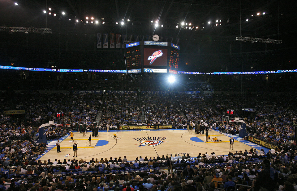 The opening night NBA basketball game between the Oklahoma City Thunder and the Milwaukee Bucks on Wednesday, Oct. 29, 2008, at the Ford Center in Oklahoma City, Okla.