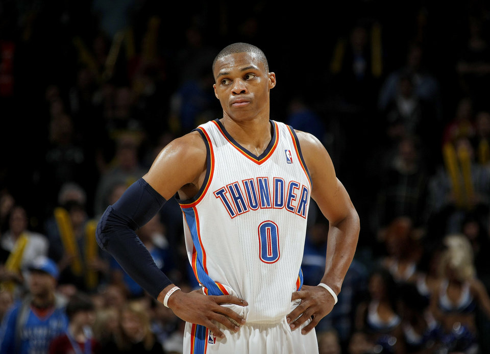 Oklahoma City's Russell Westbrook (0) reacts to a play during the NBA basketball game between the Oklahoma City Thunder and the Phoenix Suns, Sunday, Dec. 19, 2010, at the Oklahoma City Arena. Photo by Sarah Phipps, The Oklahoman