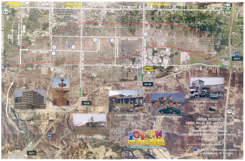 "This image provided by the Joplin, Mo. convention and visitors bureau shows a map of the route of the tornado that struck the city on May 22, 2011. When the convention and visitors bureau recently discussed offering guided bus tours and even a smartphone app, storm victims bristled, imagining that their shattered homes could be put on display for legions of curious sightseers. But the bureau director says he wants to promote Joplin's recovery to outsiders, insisting that the effort is ""not about busted-up homes or destroyed cars or body parts."" (AP Photo/Joplin Convention And Visitors Bureau via The Joplin Globe)  ORG XMIT: MOJOP101"