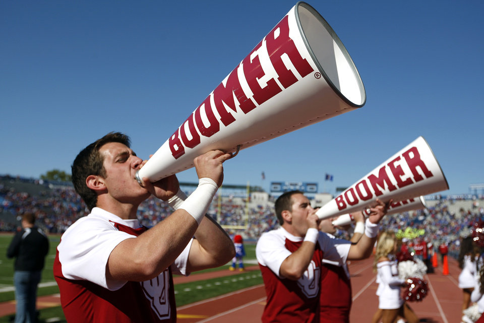 Oklahoma's Garrett Wardlow cheers during of the college football game between the University of Oklahoma Sooners (OU) and the University of Kansas Jayhawks (KU) at Memorial Stadium in Lawrence, Kan., Saturday, Oct. 19, 2013. OU won 34-19. Photo by Sarah Phipps, The Oklahoman