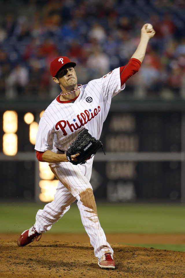 Photo - Philadelphia Phillies' Cole Hamels pitches during the fourth inning of a baseball game against the San Diego Padres, Wednesday, June 11, 2014, in Philadelphia. (AP Photo/Matt Slocum)