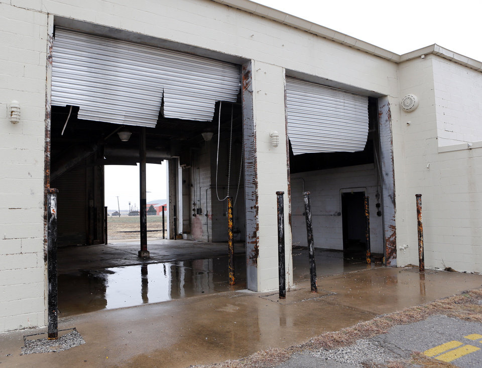 Photo - Structural damage that was originally overlooked has delayed repairs to a storm-damaged building at the Burns Flat spaceport.PHOTO BY STEVE SISNEY, THE OKLAHOMAN  STEVE SISNEY - THE OKLAHOMAN
