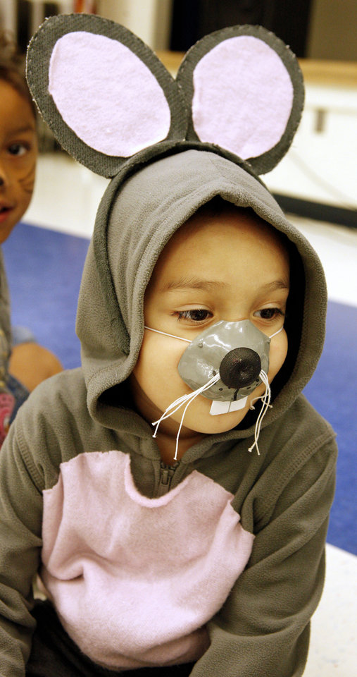 Photo - Prekindergarten student Jaden Harper, 5, performs as a mouse in the play