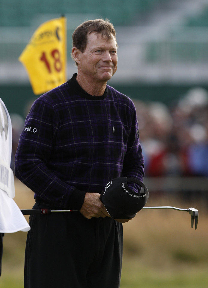 Photo - Tom Watson of the US reacts after finishing his third round of the British Open Golf championship, at the Turnberry golf course, Scotland, Saturday, July 18, 2009. (AP Photo/Jon Super) ORG XMIT: TBY354