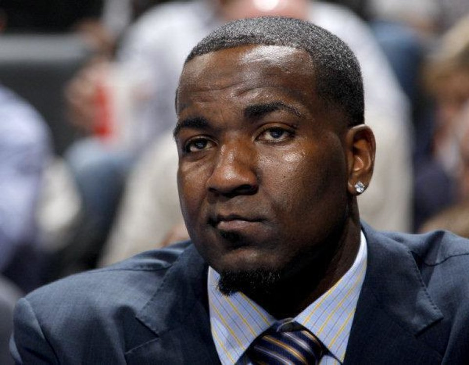 Photo - Oklahoma City's Kendrick Perkins watches during the NBA basketball game between the Oklahoma City Thunder and the Indiana Pacers at the Oklahoma City Arena, Wednesday, March 2, 2011. Photo by Bryan Terry, The Oklahoman  BRYAN TERRY