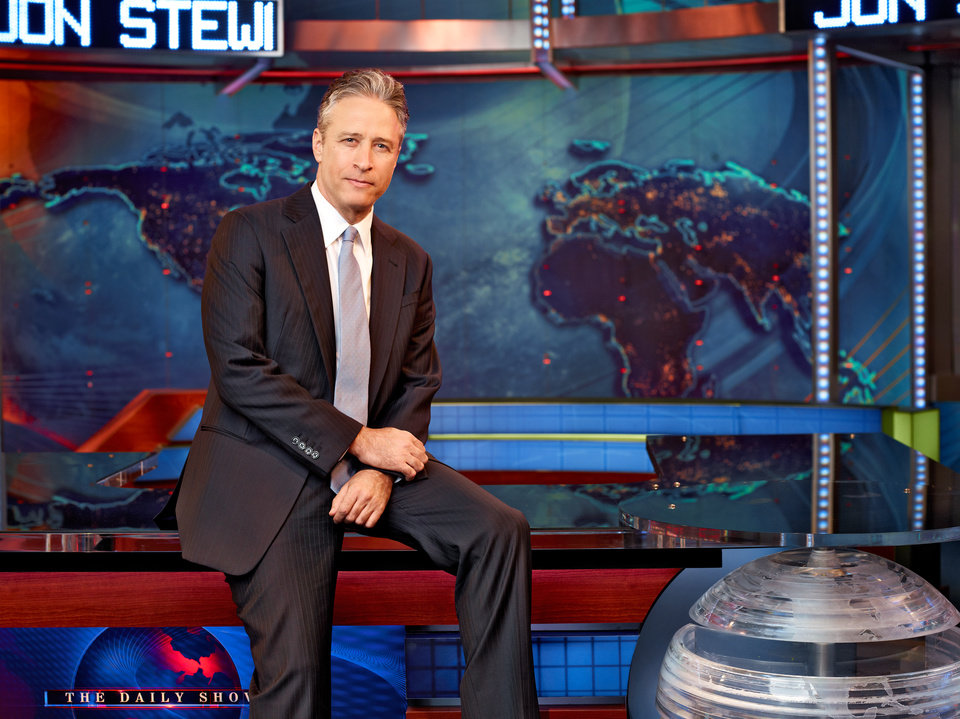 Photo -   This undated image released by Comedy Central shows Jon Stewart on the set of