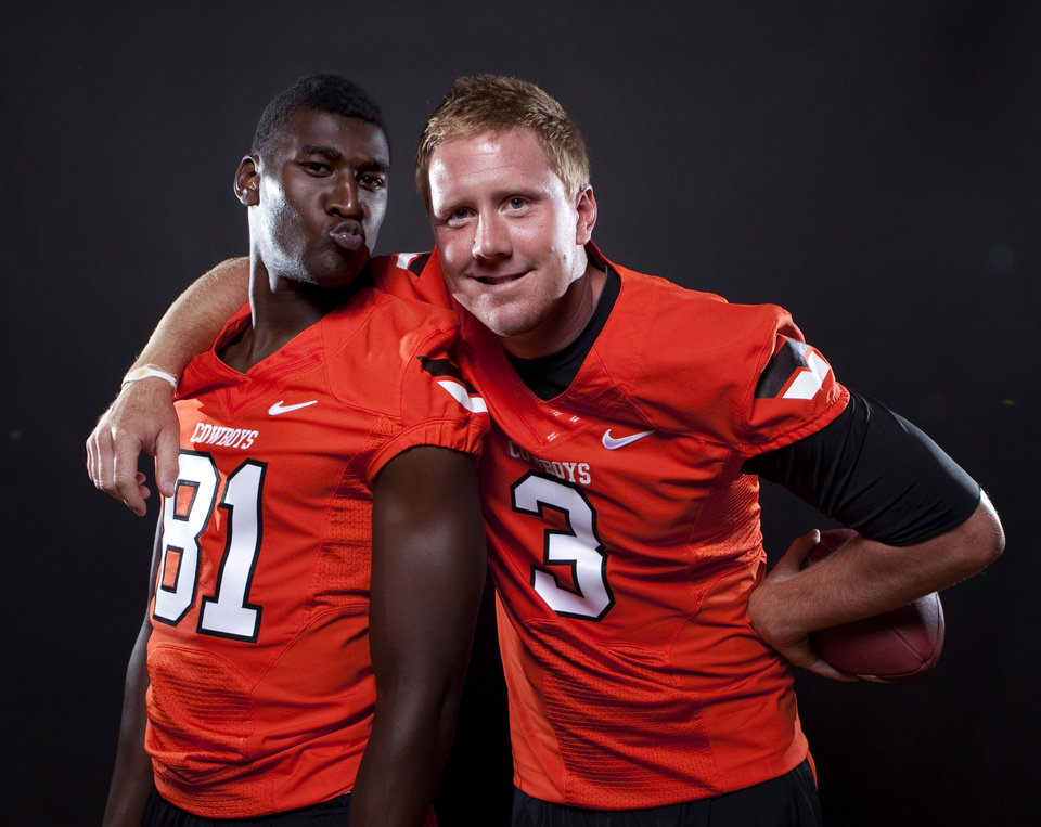 Oklahoma State\'s Brandon Weeden (3) and Justin Blackmon (81) pose a photo during Oklahoma State\'s Football media day in Stillwater, Okla., Saturday, Aug. 6, 2011. Photo by Sarah Phipps, The Oklahoman