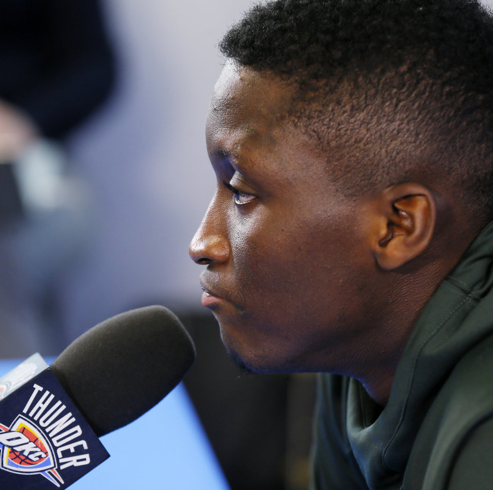 Photo - Victor Oladipo speaks to the media during exit interviews for the Oklahoma City Thunder at the Integris Thunder Development Center in Oklahoma City, Wednesday, April 26, 2017. Photo by Nate Billings, The Oklahoman