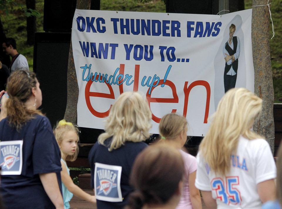 Thunder fans wait for instruction from the Thunder Girls during a Thunder mob dance to send to Ellen DeGeneres at Hafer Park in Edmond Wednesday, May 18, 2011. Photo by Doug Hoke, The Oklahoman.