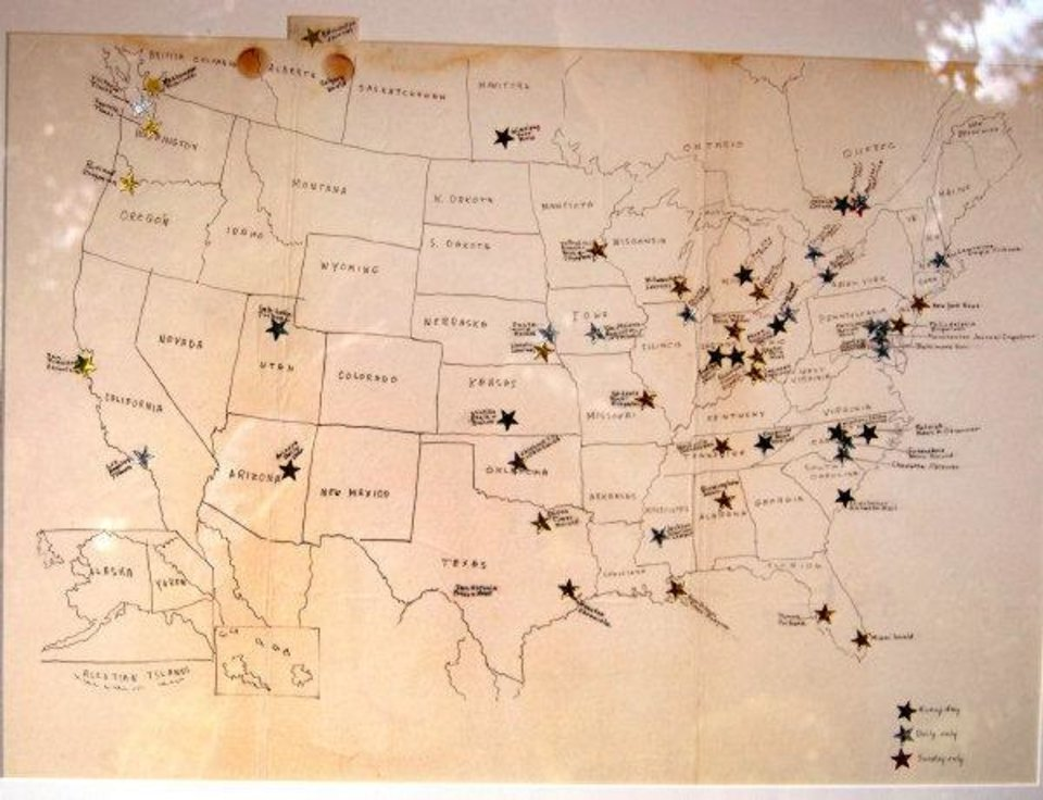 "This photo taken by Cathy Guisewite shows a map that her parents created and marked with stars to point out the first newspapers that carried her ""Cathy"" comic strip on the day it appeared on Nov. 22, 1976. The map still hangs in her office. Her parents put a gold star for The Oklahoman to indicate the newspaper carried it from its early days to run in both Sunday and weekday newspapers.  Photo provided. <strong></strong>"