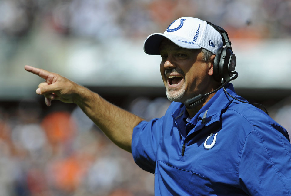 Photo -   Indianapolis Colts head coach Chuck Pagano shouts out to his team during the first half of an NFL football game against the Chicago Bears in Chicago, Sunday, Sept. 9, 2012. (AP Photo/Jim Prisching)