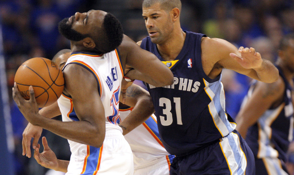 Oklahoma City\'s James Harden (13) tries to get by Shane Battier (31) of Memphis during game 7 of the NBA basketball Western Conference semifinals between the Memphis Grizzlies and the Oklahoma City Thunder at the OKC Arena in Oklahoma City, Sunday, May 15, 2011. Photo by Sarah Phipps, The Oklahoman