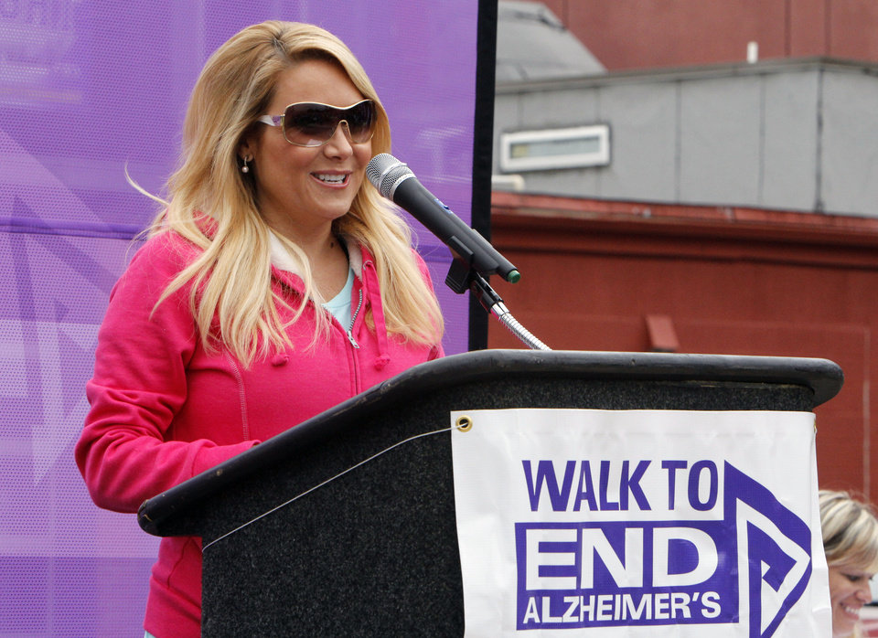 Jaime Cerreta speaks to walkers during the 2012 Oklahoma City Walk to End Alzheimer's at Bricktown Ballpark in Oklahoma City, OK, Saturday, September 15, 2012,  By Paul Hellstern, The Oklahoman