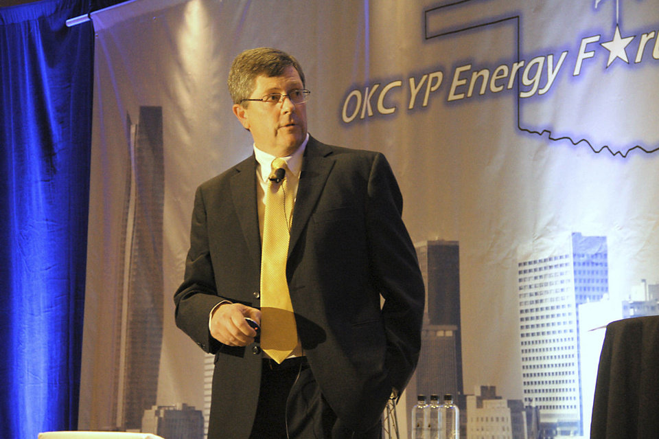 Jeff Hume, vice chairman of strategic growth initiatives at Oklahoma City-based Continental Resources, talks Thursday at the Oklahoma City Young Professionals Energy Forum in Oklahoma City. About 360 young professionals from throughout the state attended the event. Photos by Adam Wilmoth, The Oklahoman