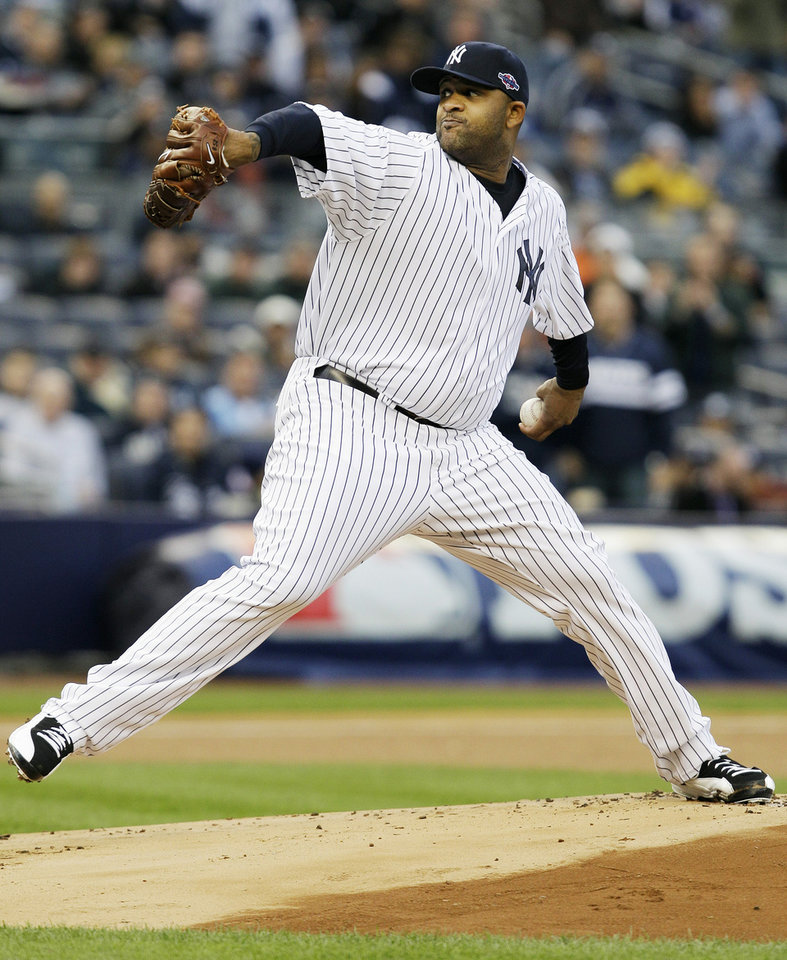 Photo -   New York Yankees' CC Sabathia delivers a pitch during the first inning of Game 5 of the American League division baseball series against the Baltimore Orioles, Friday, Oct. 12, 2012, in New York. (AP Photo/Kathy Willens)