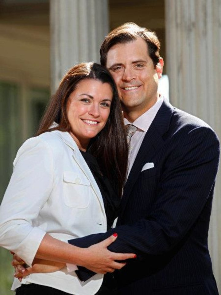 Renzi and Lee Anne Stone pose for a picture at the Hefner Mansion, now owned by St. Luke's United Methodist Church, where the couple attend worship services. <strong>JIM BECKEL - THE OKLAHOMAN</strong>