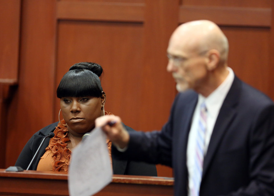 Witness Rachel Jeantel, left, continues her testimony to defense attorney Don West on day 14 of George Zimmerman's trial in Seminole circuit court in Sanford, Fla. Thursday, June 27, 2013. Zimmerman has been charged with second-degree murder for the 2012 shooting death of Trayvon Martin.(AP Photo/Orlando Sentinel, Jacob Langston, Pool)