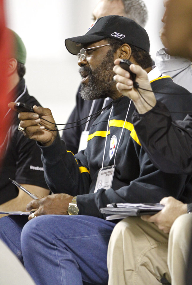 """Mean"" Joe Greene scouts for the Steelers during the University of Oklahoma pro timing day on Tuesday, March 8, 2011, in Norman, Okla. Photo by Steve Sisney, The Oklahoman"
